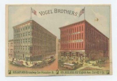Vogel Brothers Clothing stores trade card - NYC - rv has how to measure | eBay