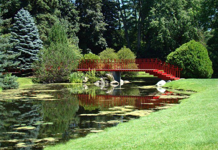 Love the Japanese bridge that crosses a creek at Dow