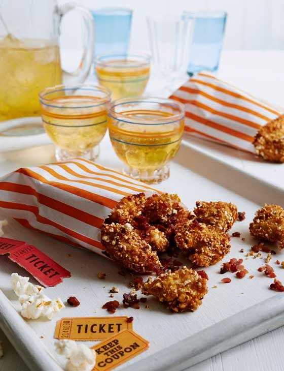 Popcorn crusted chicken with bacon crumbshttp://www.sainsburysmagazine.co.uk/recipes/mains/chicken-and-game-2/item/popcorn-crusted-chicken-with-bacon-crumbs