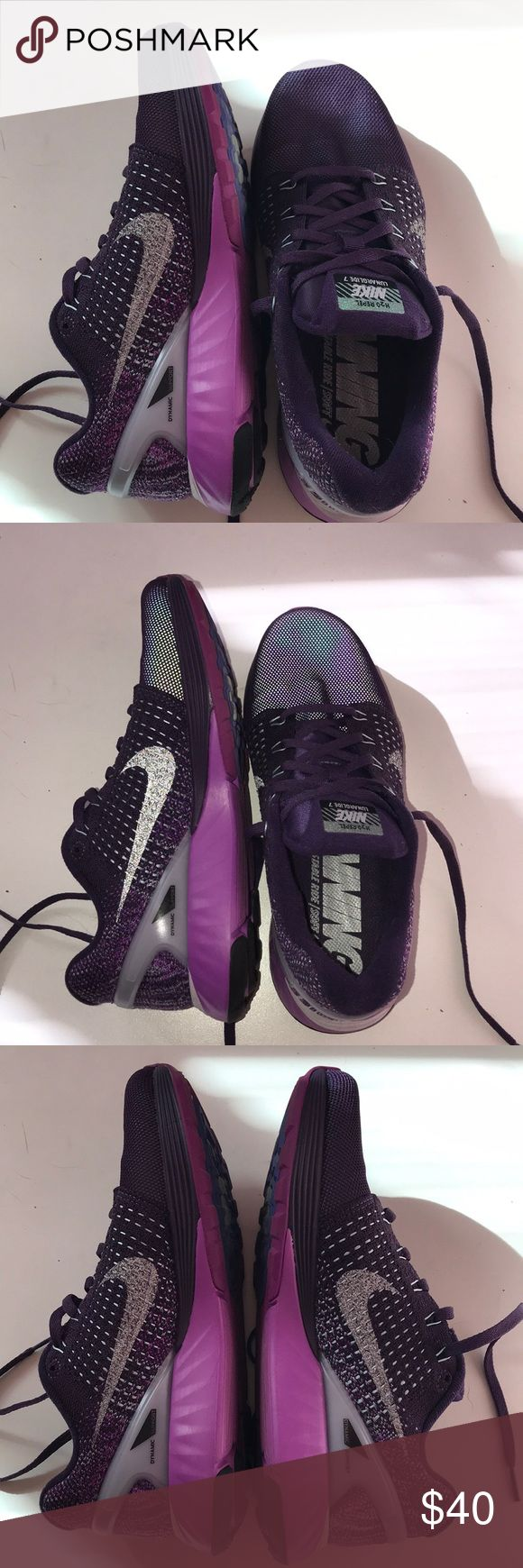 nike lunarglide 7 purple running shoes, no flaws and in good condition. second picture is with flash to show reflectors Nike Shoes