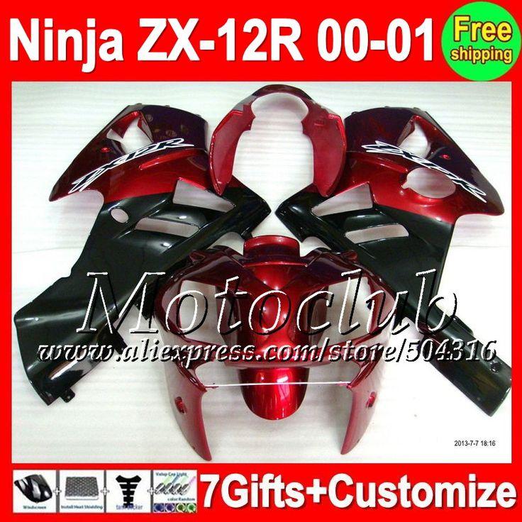 Дешевое Темно красный 7 подарки для KAWASAKI ниндзя ZX12R 00   01 00 01 темно красный черный 2C351 ZX 12 R ZX 12R ZX 12R 2000 ZX12 R 2001 зализа, Купить Качество Щитки и художественная формовка непосредственно из китайских фирмах-поставщиках:                              Удостоверение личности aliexpress: Мотоклуб