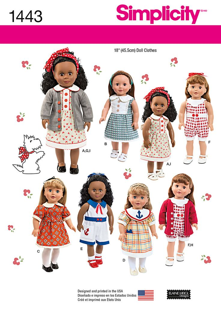 "Simplicity Pattern: S1443 18"" Doll Clothes — jaycotts.co.uk - Sewing Supplies"