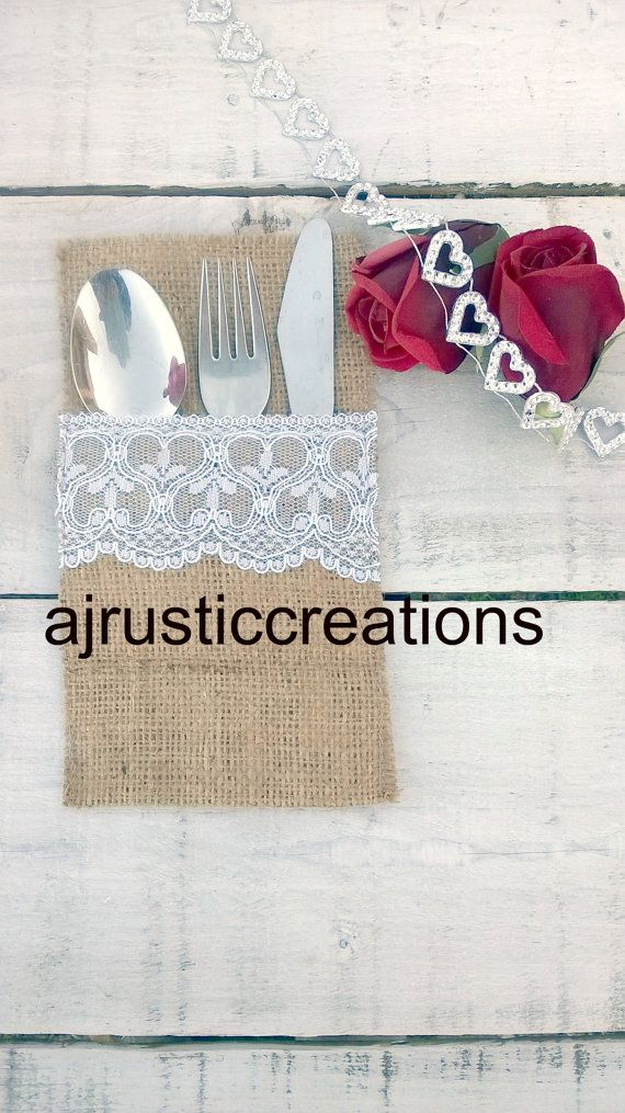 Burlap Silverware Holder - Burlap Cutlery Holder - Burlap Cutlery Sleeve - Burlap Cutlery Pocket - Wedding Table Decor - set of 60 We love working with burlap our lace. Ideal for weddings, bridal showers and all rustic special occasions. All our silverware holders are hand cut and