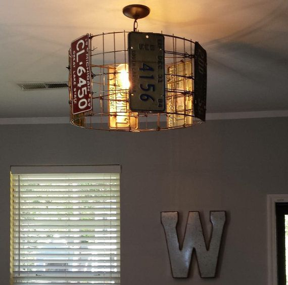 Hoover Industrial Pendant Light: Vintage License Plate Hanging Light. By TinRoofCo On Etsy