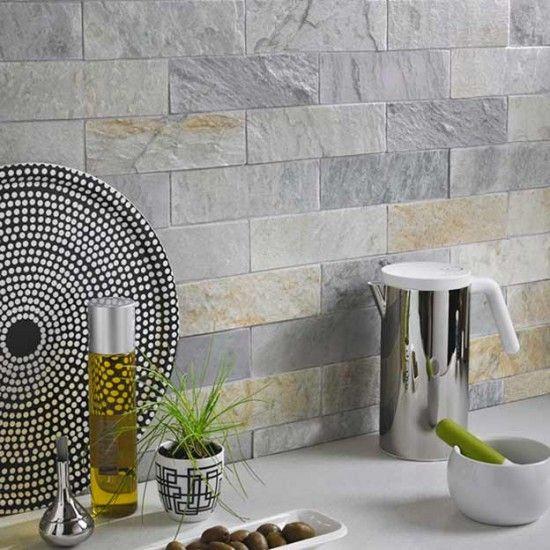 Ice White Brick Natural Stone Tiles - 75x250mm