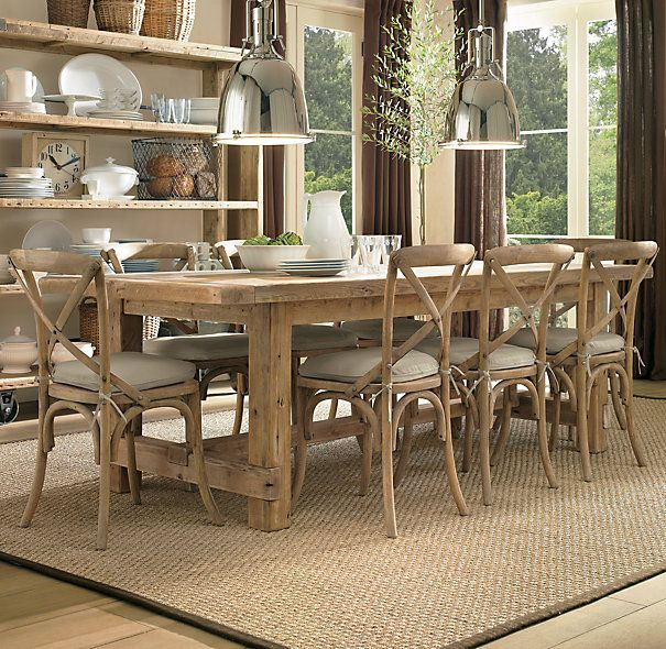 Farmhouse Salvaged Wood Rectangular Extension Tables | Rectangular Dining Tables | Restoration Hardware - would do a bench on one side!