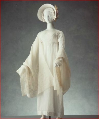 Day Dress of White Sprigged Muslin, Empire Line with Tapered Sleeves, England, c. 1810