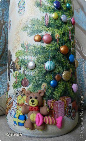 Декор предметов Стенгазета Новый год Декупаж Лепка Рисование и живопись Праздник к нам приходит  Бутылки стеклянные фото 4