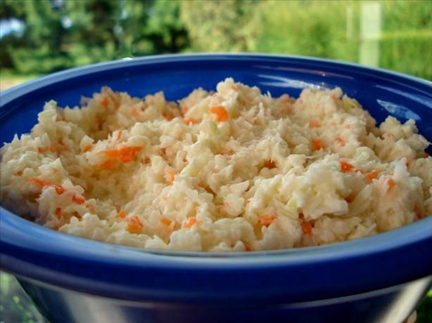Sweet, Creamy Coleslaw from Food.com:   								I never liked coleslaw until I tried my husband's great aunt's. Now I can't get enough of it! Great with BBQ pork sandwiches. You can also use a bag of slaw mix instead of shredding the cabbage and carrots yourself.
