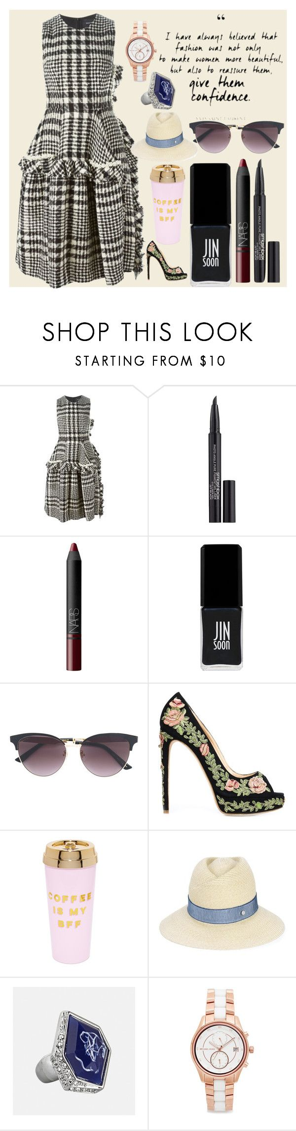 """Beautiful things defines beauty"" by gadinarmada-1 ❤ liked on Polyvore featuring Simone Rocha, Smashbox, NARS Cosmetics, JINsoon, Gucci, Marchesa, ban.do, Maison Michel, Avenue and Michael Kors"