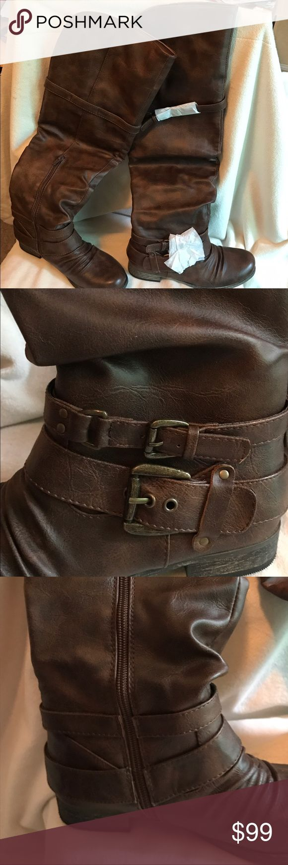 Carlos by Carlos Santana boots Low heel ridding boot in cognac brown brand new. Carlos Santana Shoes Combat & Moto Boots