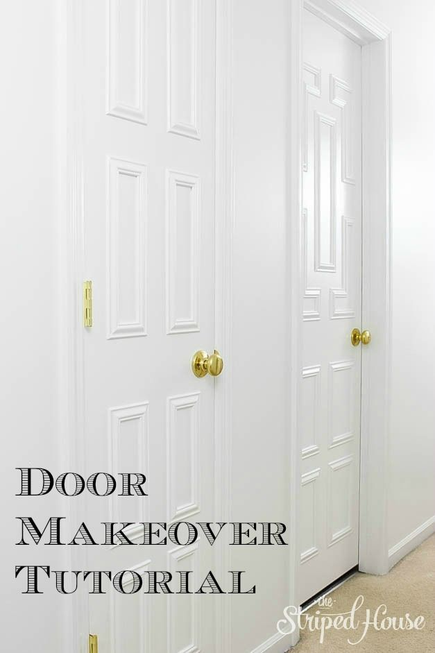 Transformation of interior doors and hallway using decorative moulding.