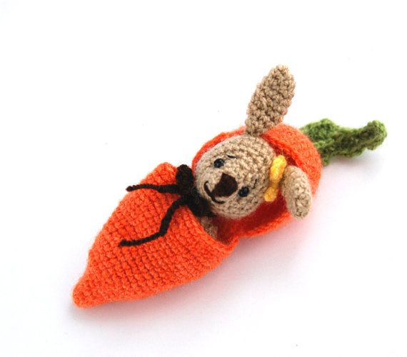 Easter BUNNY in a carrot purse, hide in bunny, amigurumi rabbit to add to Easter basket, traveling toy, crochet carrot, miniature rabbit