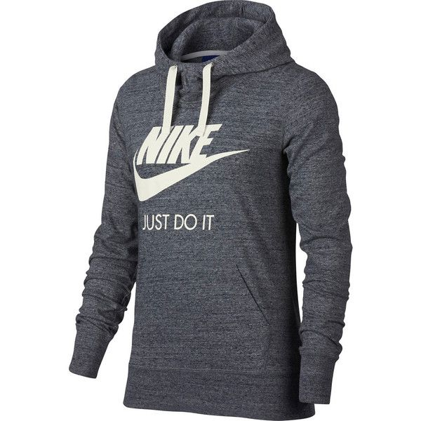 Women's Nike Sportswear Gym Vintage Hoodie ($60) ❤ liked on Polyvore featuring tops, hoodies, grey, nike hoodie, gray hooded sweatshirt, hooded pullover, vintage tops and gray hoodies