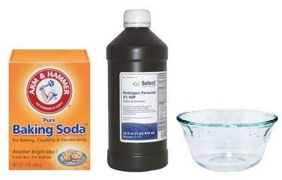 "1/4 cup baking soda in glass bowl--add squirts of peroxide until it makes a paste--Cleans practically everything! via ""One Good Thing"""