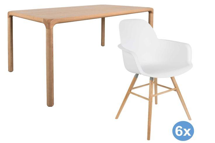 Storm tafel eetkamerset + 6 Albert kuip stoelen met armleuning | Zuiver