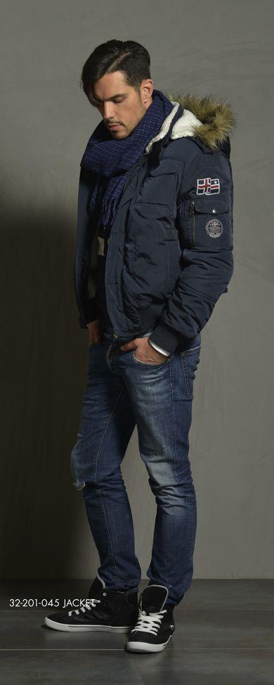 Men's jacket with detachable hood, boa fur inner collar side & inner hood side & fake fur around hood. www.biston.gr