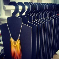 Hangers for displaying heavy, bold handmade jewelry at a craft fair or in a boutique