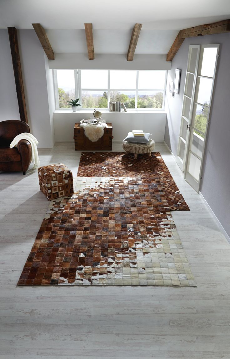 Extravaganter Teppich aus echtem Leder mit Patchwork-Design
