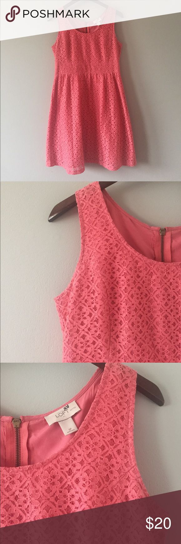pretty coral lace LOFT dress size 6P dorable coral lace dress from the LOFT. size 6P. zips up the back. great condition. bundle with other items for an even deeper discount. LOFT Dresses