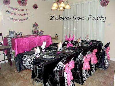 zebra spa party decorating ideas