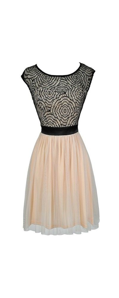 Tulle We Meet Again Champagne and Black Web Lace Dress  www.lilyboutique.com