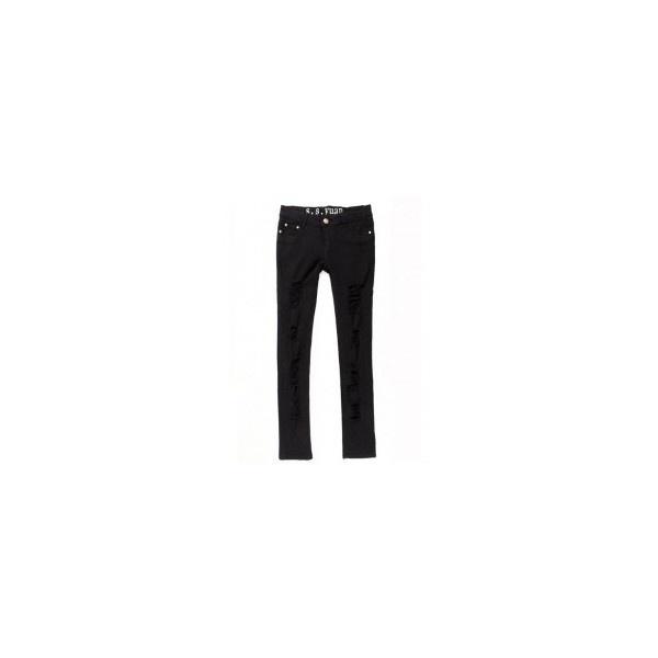Black Personality Hole Slim Stretch Women's Jeans ($34) via Polyvore