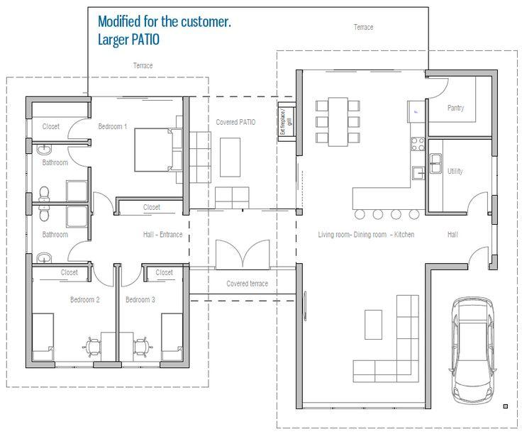 10 best planos images on Pinterest House blueprints, Cottage floor - plan maison 170 m2 plain pied