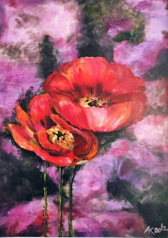Mohnblumen Blute Rot Original Gemalde Mohnblume Original Gemalde Kunst