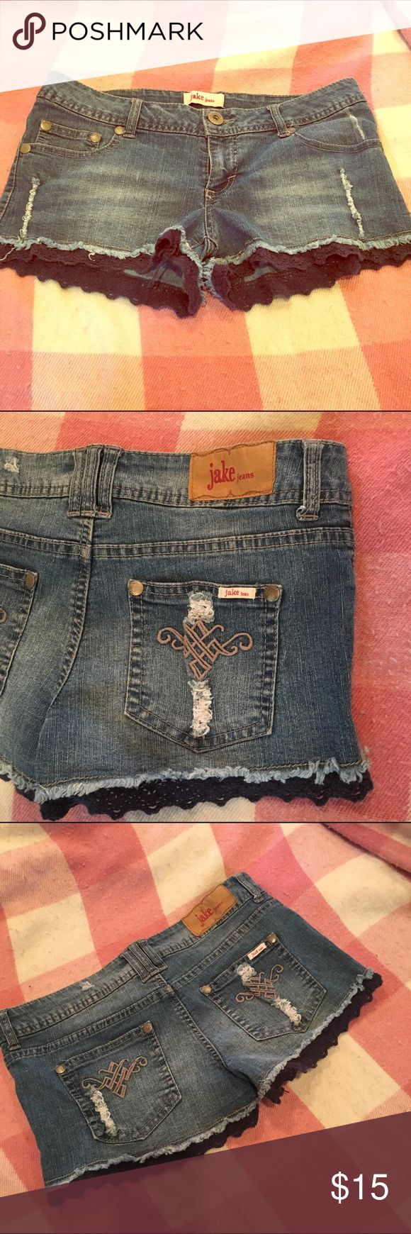 Lace trim daisy Dukes I've these. So pretty. Too big for me now :( jake jeans  Shorts Jean Shorts