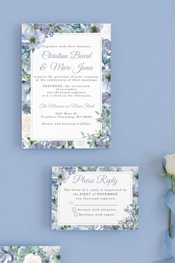 Dusty Blue Wedding Invitations Zazzle Com Wedding Invitations Blue Wedding Invitations Pocket Wedding Invitations