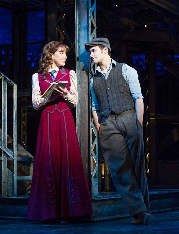 Liana Hunt as Katherine Plumber & Corey Cott as Jack Kelly in Newsies.
