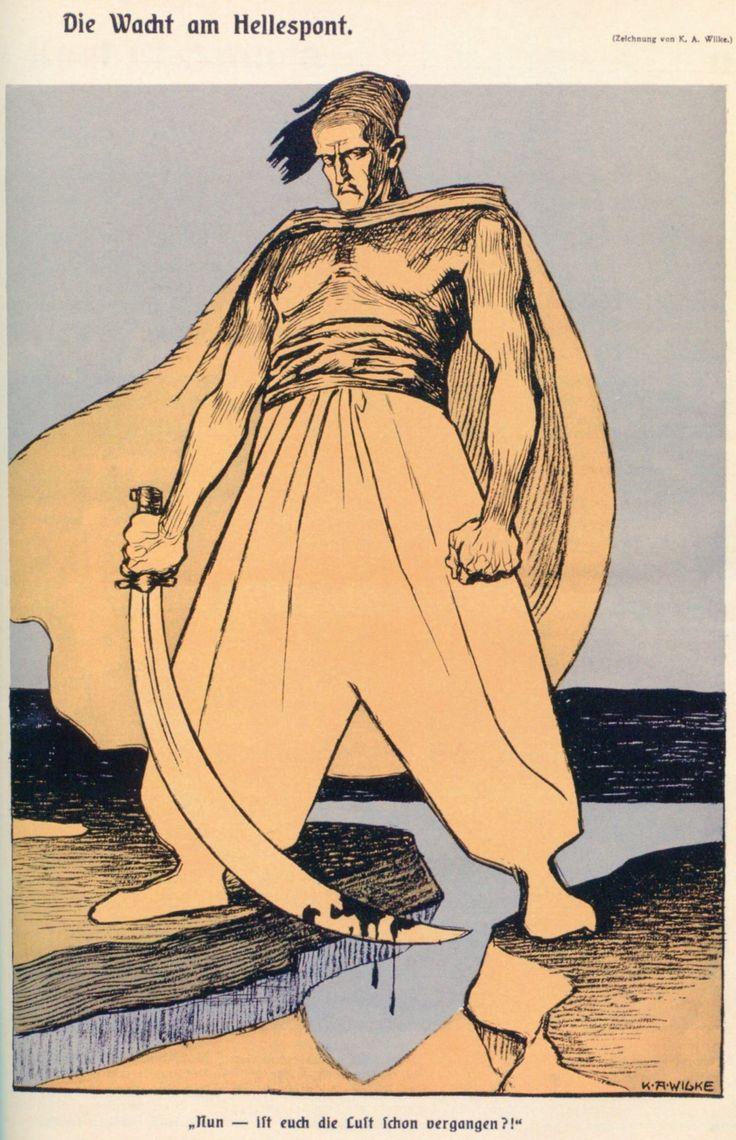 """K.A.Wilke, 'Die Wacht am Hellespont', in 'Die Muskete' (Oostenrijk, 29 april 1915) Onderschrift luidt: """"Nun, ist euch die Lust schon vergangen?!"""" Vertaling: 'Nu, hebben jullie ook geen zin meer?!'"""