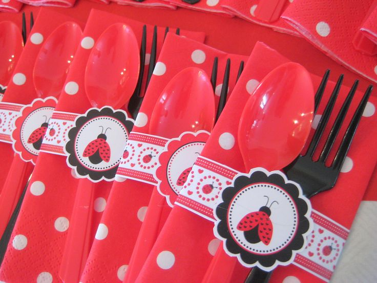 Ladybug cutlery for party