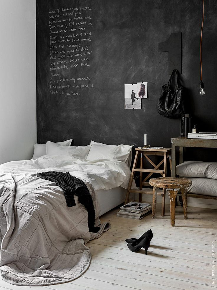nice Bedroom with black chalkboard wall... by http://www.besthomedecorpics.us/bedroom-ideas/bedroom-with-black-chalkboard-wall/