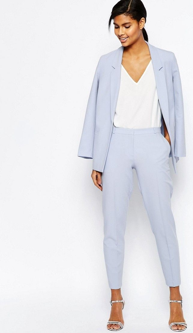 Try a periwinkle pantsuit for a great monochromatic work look for spring. Let Daily Dress Me help you find the perfect outfit for whatever the weather! dailydressme.com/