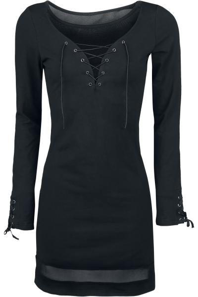 """Abito """"Cording Dress"""" della collezione #Gothicana con lacci intrecciati sul davanti e sulle maniche e inserto trasparente in tessuto a rete 100% poliestere su petto e orlo. lu.: 85 cm circa."""