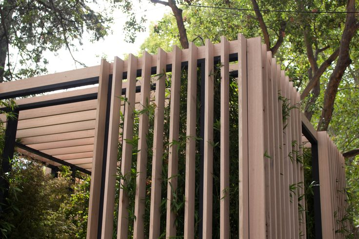 Love this slatted timber treatment Melbourne Flower Show 2015