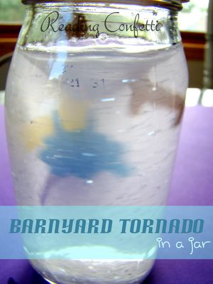 2 barnyard tornado books & a tornado in a jar-great preschool science!