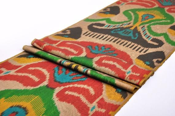 Multi Color Ikat Fabric By The Yard Ikat Upholstery Fabric Hand
