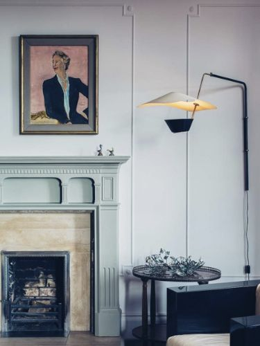 fireplace with pale green chalky finish (Retrouvius Reclamation and Design)