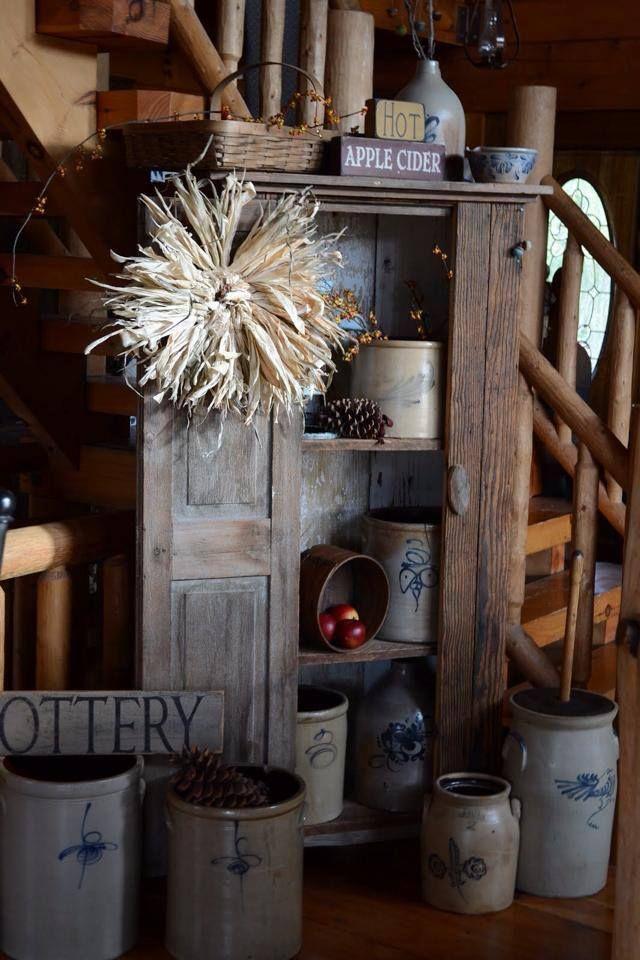 Lovely crocks! ❤❤❤ Old crocks in vintage wooden shelf / cupboard - Home Design