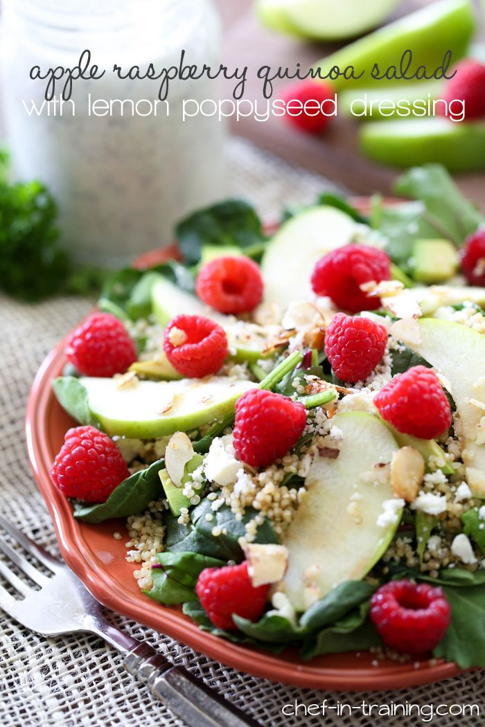 Apple Raspberry Quinoa Salad with Lemon Poppyseed Dressing from chef-in-training.com …This salad is INCREDIBLE!