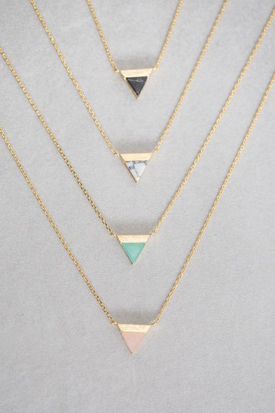 Gold + Stone Triangle Pendant Necklace Available in: Black Marble, White Marble, Jade, Rose ($20.00)