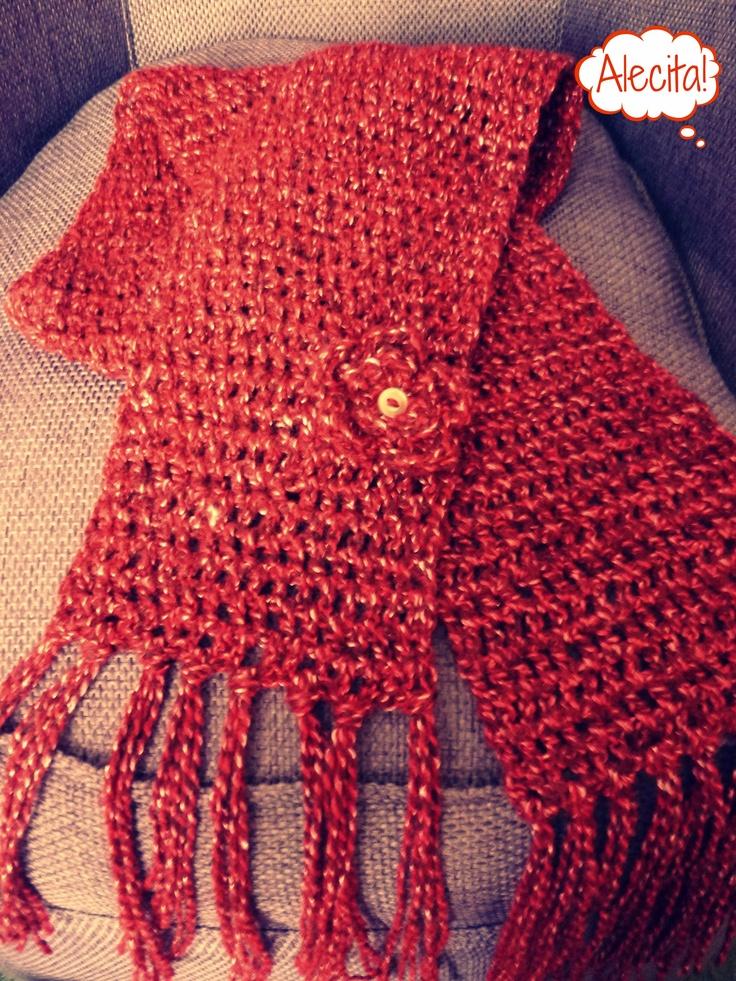 Bufanda Roja de Crochet  by. Alecita!