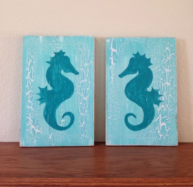 Pair of Rustic Seahorse Paintings on Wood, seahorse decor, beach decor, surf decor, beach sign by NCSustainableStyle on Etsy