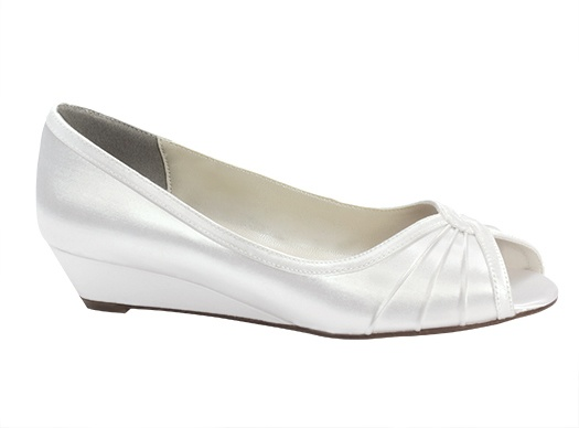 Honey  Heel height 1 inch. Dyeable white satin. Sizes 5-11,12. Wide widths also available 5-11,12 as special order.