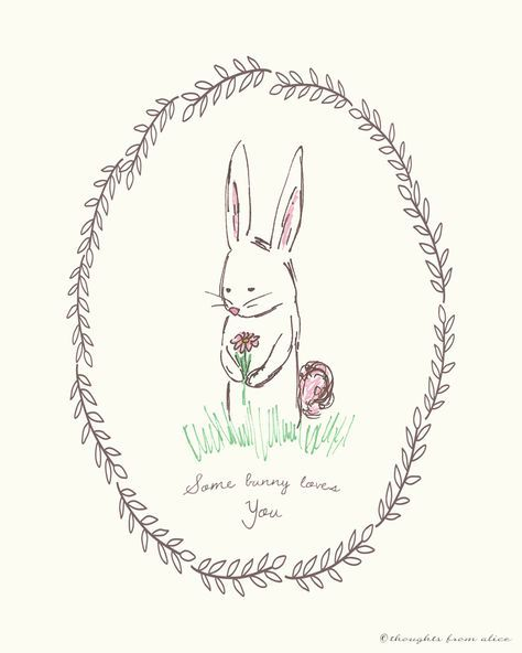 """Spring Easter Bunny Free Printable - """"Some Bunny Loves You"""""""