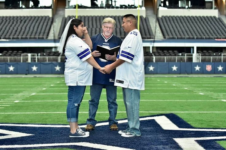 Victoria and Seth were married at the 50 Yard line at AT&T Stadium, the home of the Dallas Cowboys.  Check out their football themed wedding story at www.SportsWeddingBride.com  #cowboyswedding #footballwedding