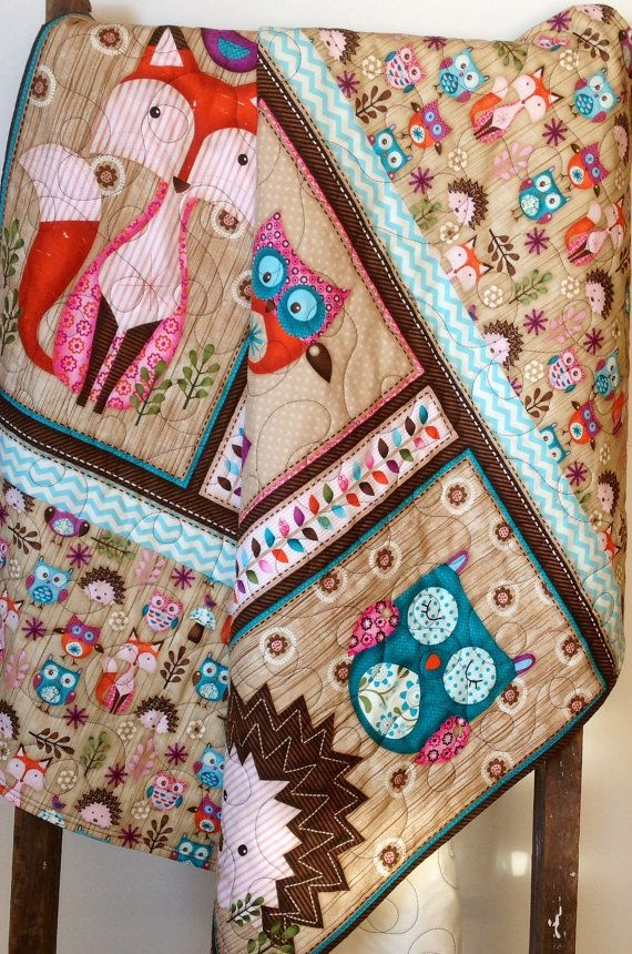 Baby Quilt Woodland Critters Fox Owl Animals Rustic Bedding Crib Nursery Handmade Blanket Tiny Overlord